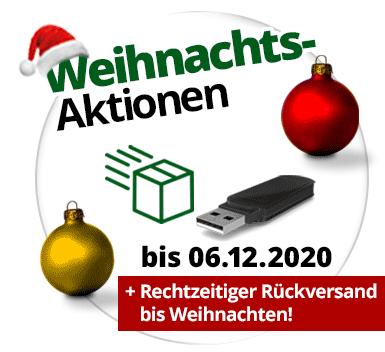 Weihnachts-Aktionen mit Gratis-USB-Stick und Gratis-Rückversand
