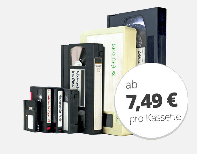 Videokassetten digitalisieren ab 7,49 €